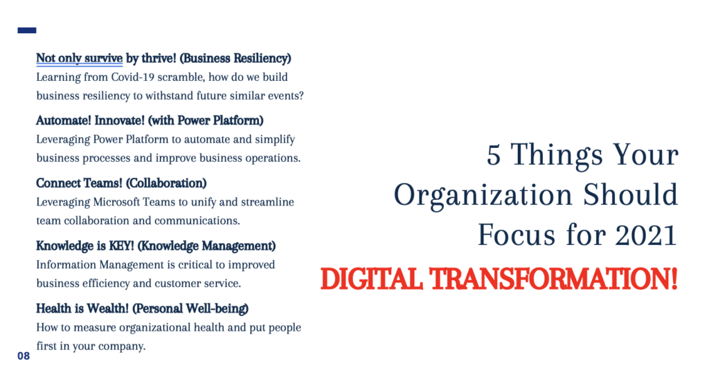 Digital Transformation: Five Key Focus Areas for 2021. Equip Your Organization for 2021